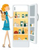 Stocking the Fridge - Vector