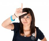 Girl Making The Loser Sign On Her Forehead