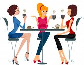 stock photo of cartoon people  - Women drinking Coffee  - JPG
