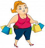 foto of woman body  - Plump Woman Shopping  - JPG