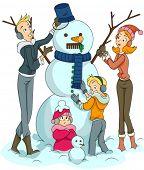 Family building Snowman - Vector
