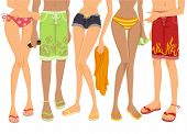 Lower Body of People at the Beach - Vector