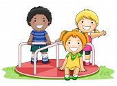 Children on Merry Go Round in the Park - Vector