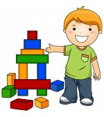 Boy with Toy Blocks - Vector