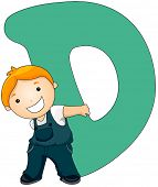 image of letter d  - Illustration of a Little Boy Carrying a Letter D on His Back - JPG