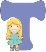Illustration of a Little Girl Posing Beside a Letter T
