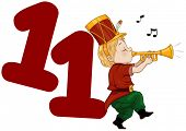 Illustration of a Piper Playing His Pipe Beside a Number Eleven