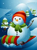Illustration of a Snowman Sliding Down a Mountain Slope