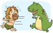 Illustration of a Caveman Running Away from a Dinosaur