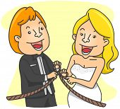 Illustration of a Couple Tying the Knot