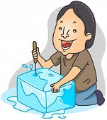 Illustration of a Man Breaking a Block of Ice