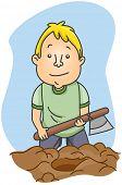 Illustration of a Man Burying a Hatchet