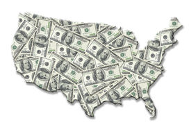 stock photo of united states map  - map of united states of america superimposed on one hundred dollar banknote background over white - JPG