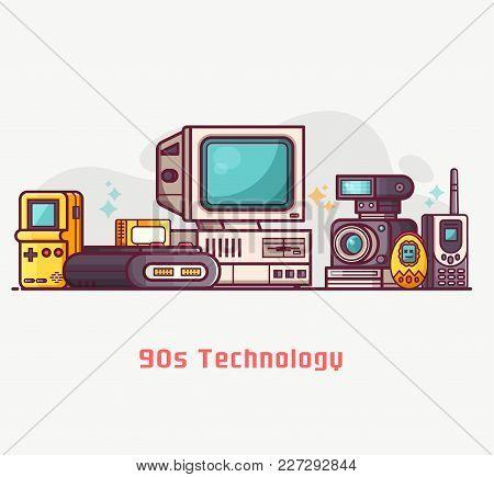 Vintage 90s Technology Banner Nineties