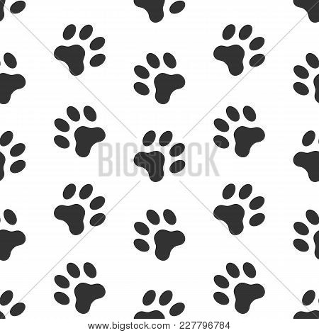 94f4302c0d7e Poster of Seamless Vector Pattern Of Dog Paw Track. Pawprints. Animal  Footprint Background.