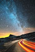 Night Landscape. Night Sky With A North Hemisphere Milky Way And Stars. The Night Road Illuminated B poster