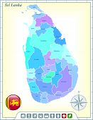Sri Lanka Map with Flag Buttons and Assistance & Activates Icons Original Illustration