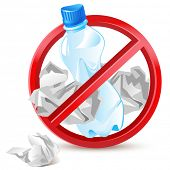 no littering warning sign - waste paper and plastic bottle
