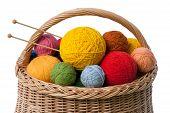 Basket With Yarn Balls