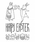 Vector Happy Easter Card With Outline Easter Rabbit Couple And Traditional Easter Symbol In Black Is poster