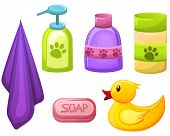 Set Of Pet, Animal Grooming Object For Pet Salon.soap, Shampoo And Other Liquids In Different Colorf poster