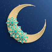 Paper Graphic Of Islamic Crescent Moon, Star Shape. Islamic Decoration. Golden Moon And Stardust. Ra poster