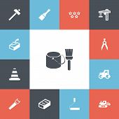 Set Of 13 Editable Building Icons. Includes Symbols Such As Putty Knife, Handle Hit, Tractor. Can Be poster