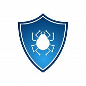 Isolated Blue Shield With Virus Vector Logotype. Firewall Logo On White Background poster