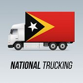 Symbol Of National Delivery Truck With Flag Of East Timor. National Trucking Icon And Flag Design poster