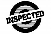 Inspected Typographic Stamp. Typographic Sign, Badge Or Logo poster