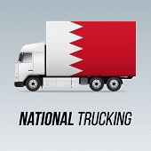 Symbol Of National Delivery Truck With Flag Of Bahrain. National Trucking Icon And Bahraini Flag poster
