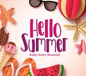 Hello Summer Vector Background Template With Flat Paper Cut Beach Elements In A Pattern White For Su poster