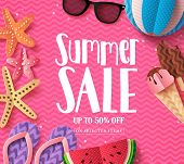 Summer Sale Vector Background Template With Paper Cut Beach Elements And Sale Text In Pink Pattern B poster