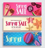 Summer Sale Vector Banner Set With Colorful Pattern Background And Paper Cut Beach Elements. Seasona poster