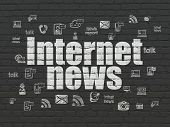 News Concept: Painted White Text Internet News On Black Brick Wall Background With  Hand Drawn News  poster