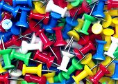 stock photo of tawdry  - Plastic thumb tacs - JPG