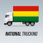 Symbol Of National Delivery Truck With Flag Of Bolivia. National Trucking Icon And Bolivian Flag poster