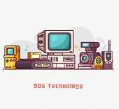 Постер, плакат: Vintage 90s Technology Banner Nineties Multimedia Electronic Entertainment Gadgets With Camera Old