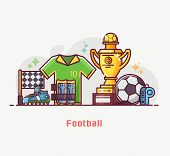 Footballer Lifestyle Banner With Soccer Training Equipment And Playing Elements. Football Championsh poster