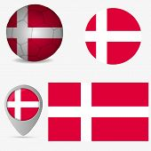 Denmark Flag, Official Colors And Proportion Correctly. National Denmark Flag. Vector Illustration poster