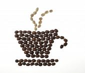 Coffee Cup, Saucer And Steam, Made Of Beans poster