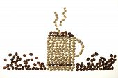 Coffee Mug And Smoke Made Of Beans Isolated On White poster