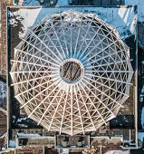 Постер, плакат: Ceiling Dome With Snow On Top Symmetrical View Of Dome Cupola Top View Of The Roof Dome