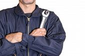 Car Repairman Wearing A Dark Blue Uniform Standing And Holding A Wrench That Is An Essential Tool Fo poster