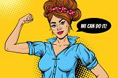 We Can Do It Poster. Pop Art Sexy Strong Girl Rising Fist And Speech Bubble. Symbol Of Female Power, poster