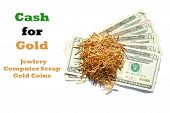 Sell your old broken gold jewelry for Cash. Cash for gold. Computer scrap gold for cash.  poster