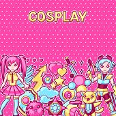 Japanese Anime Cosplay Background. Cute Kawaii Characters And Items. poster