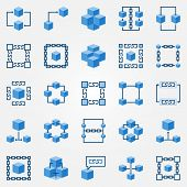 Blockchain Blue Icons Set - Vector Block Chain Technology Concept Flat Symbols. Chain And Cube Desig poster