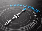Business Excellence concept - Compass needle pointing Excellence word. 3d rendering poster