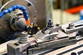 Cnc Milling Machine Machining Metal Work Piece In An Industrial Company For Mechanical Engineering poster